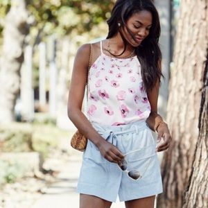 CAbi Pink Floating Poppy Floral Halter Tank Top XS